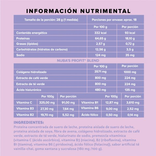 Polvo chai 1kg información nutrimental