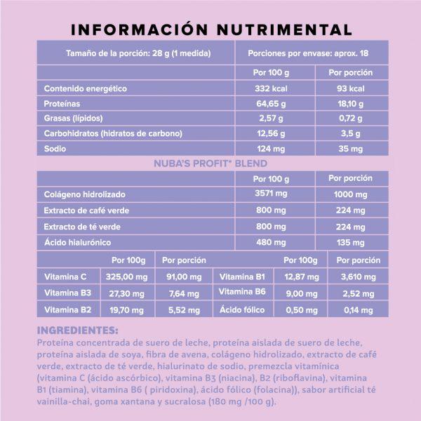 Polvo chai 500 g informacion nutrimental
