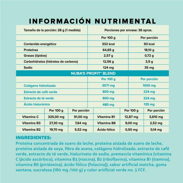 Polvo matcha información nutrimental